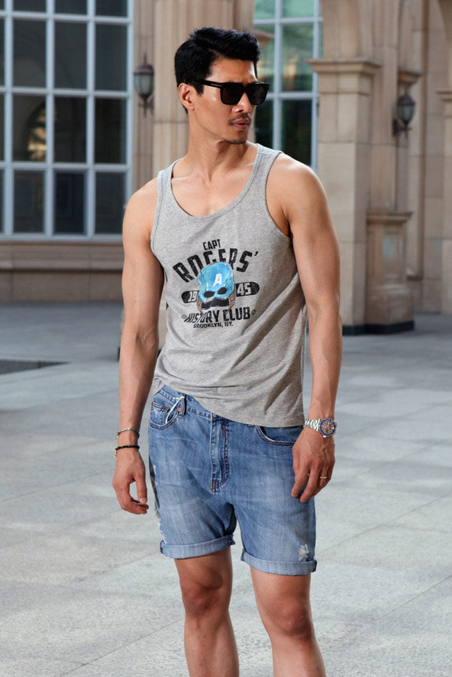 Blau.G printing sleeveless/5type-수입한정판