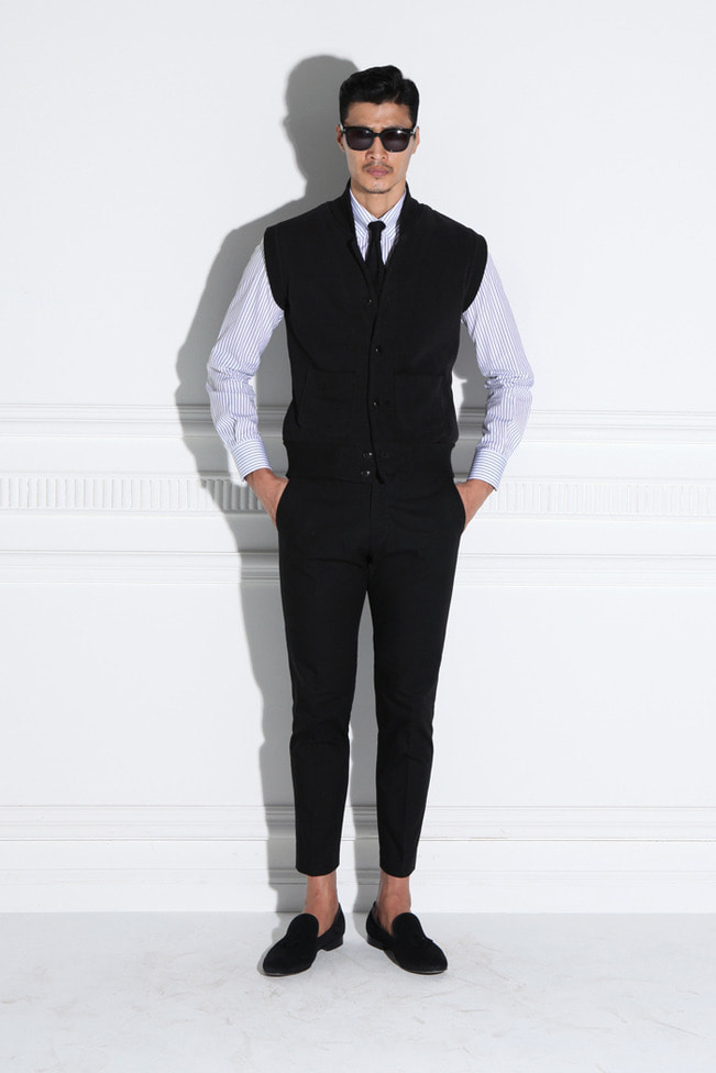 Khalma shawl collar cotton vest/black-Best Seller