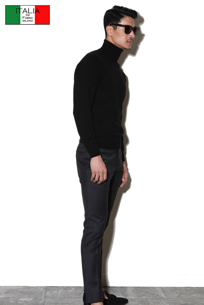 Take377 Royal cashmere turtleneck/black[black label series]