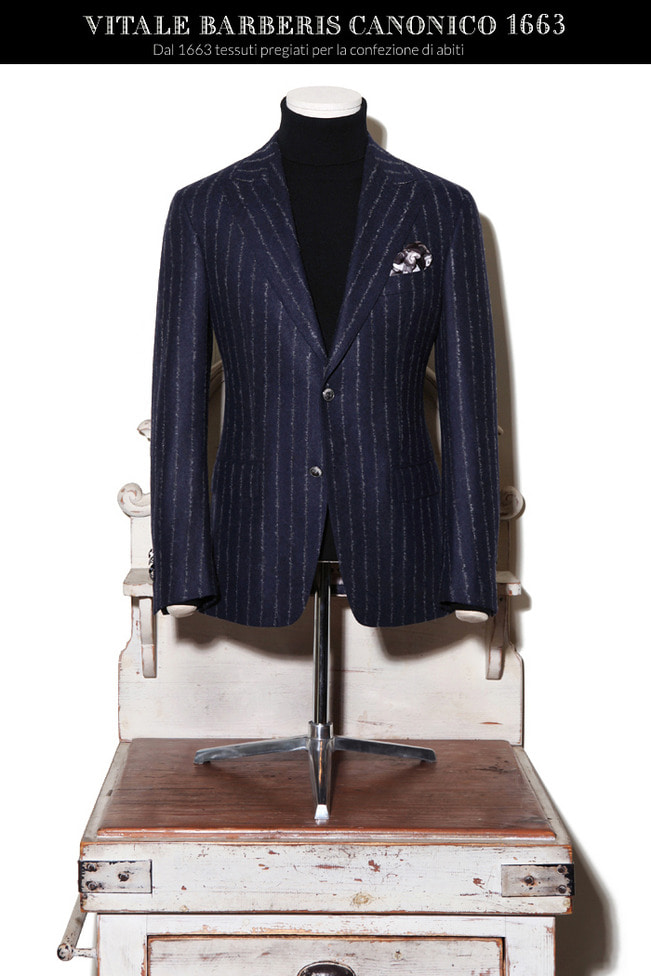 Take384 Italy Vitale barberis Canonico 1663 stripe jacket/navy