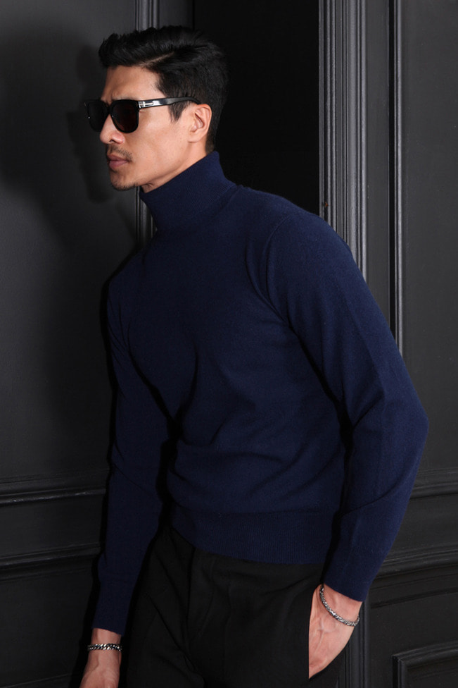 Take393 Royal cashmere turtleneck/navy[black label series]