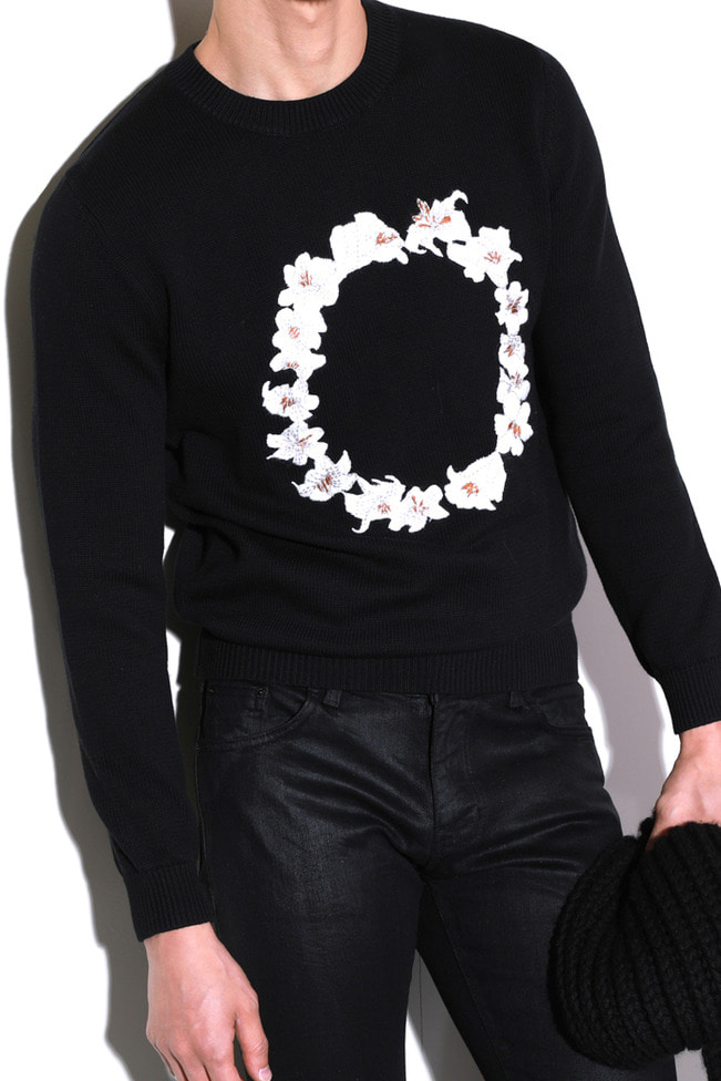 Ricamo circle flower knit/black-수입 소량 한정모델