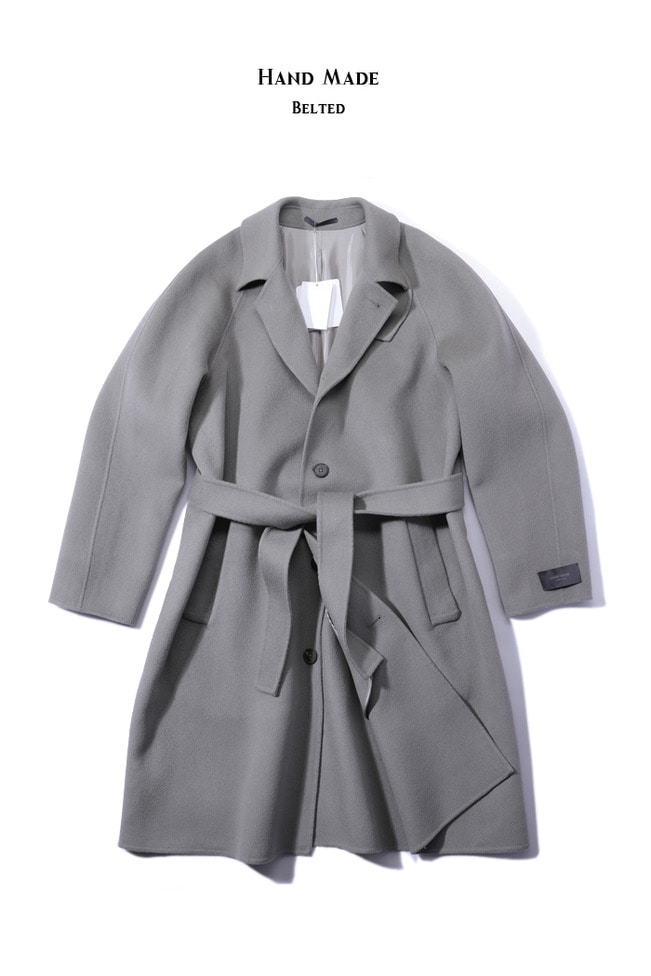 Chin collar raglan over coat/gray[semi-over fit]
