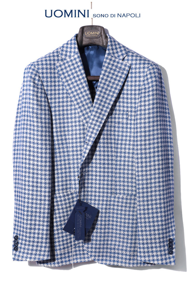 Take412 italy leomaster felicity gingham jacket/blue white