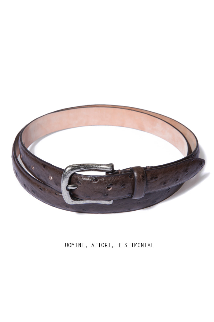 Take182 artisan ostrich belt/dark brown[black label series]