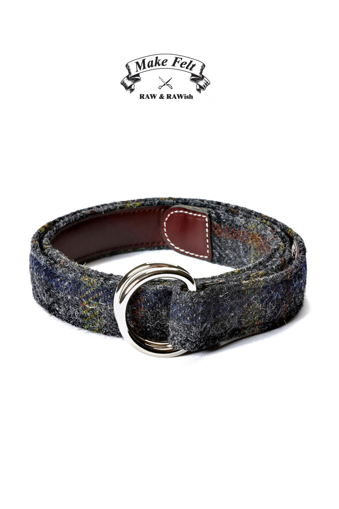 Make Felt Harris Tweed check D-ring belt[Harris Tweed]한정판!