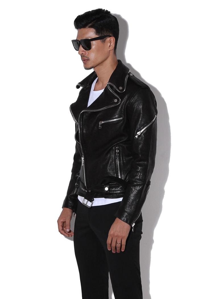 KEIEM leather rider jacket/black