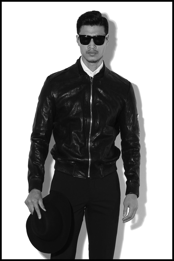 PRIME double collar leather blouson/black
