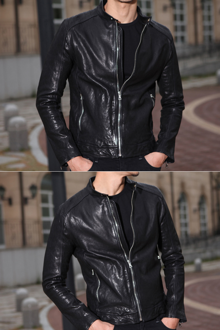 NEW alvein basic leather blouson/black