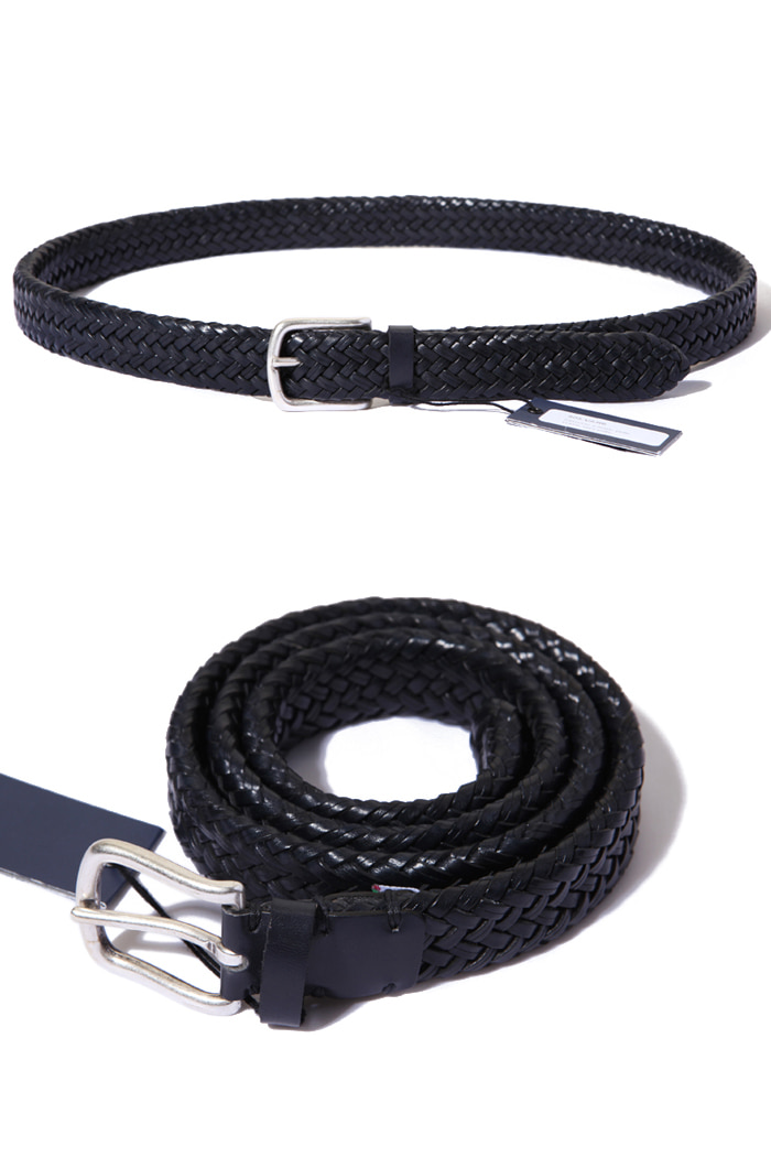 Bretelle&Braces twist leather belt/navy[made in Italy]