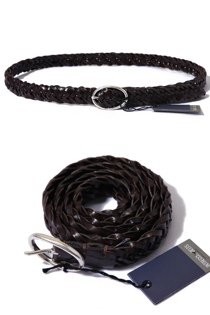 Bretelle&Braces twist leather belt/dark brown[made in Italy]