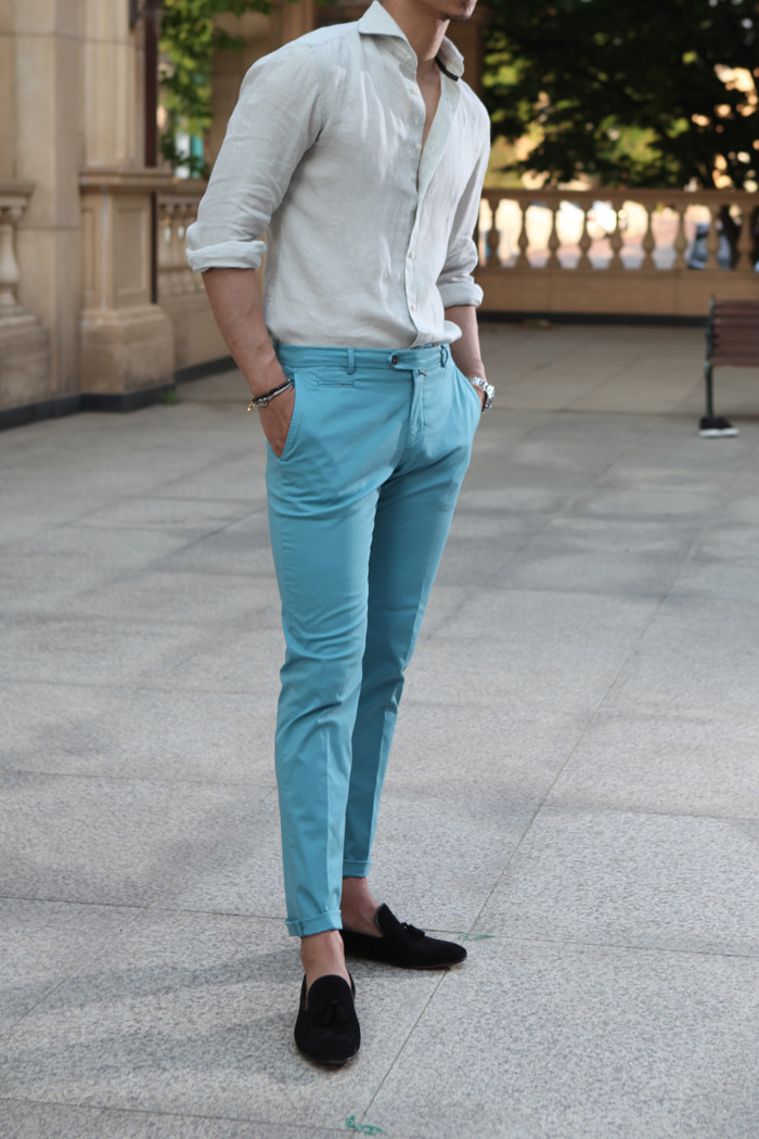 Take349 Larusmiani milano-italy garment dye pants/mint