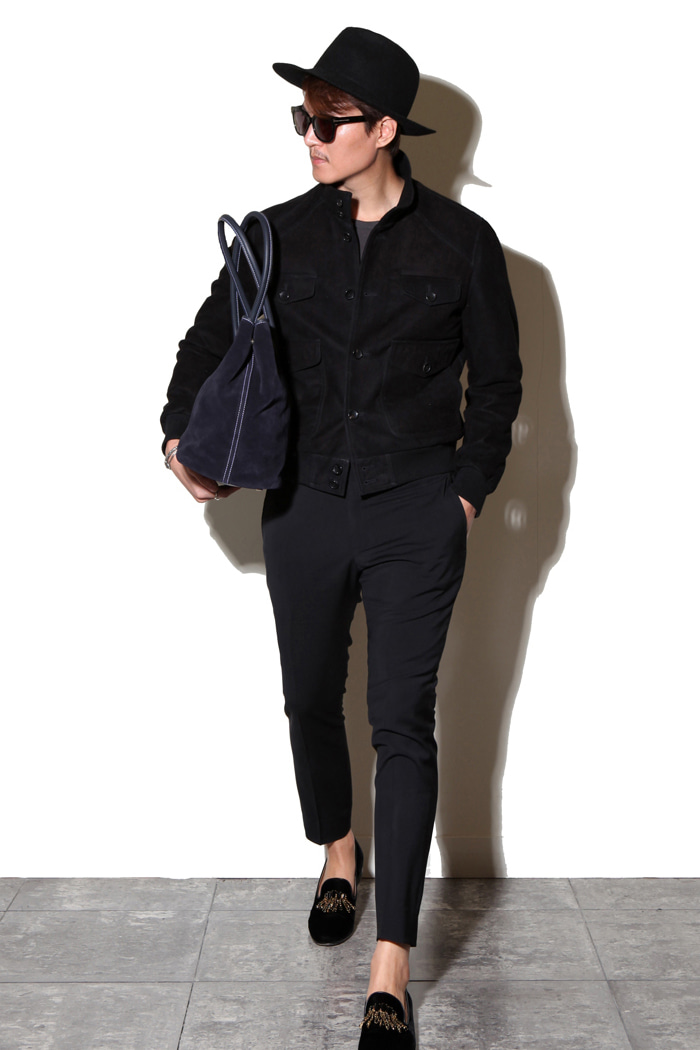 Take381 ITALIA Black Watch suede blouson/black