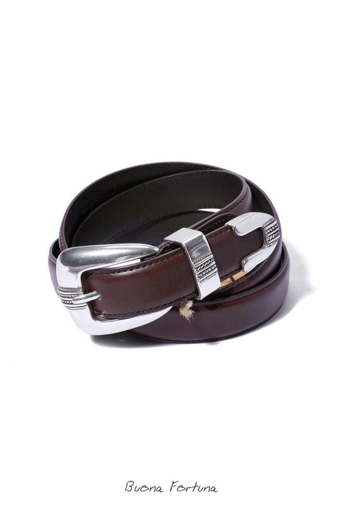 Western Lether Belt/dark brown[hand made]