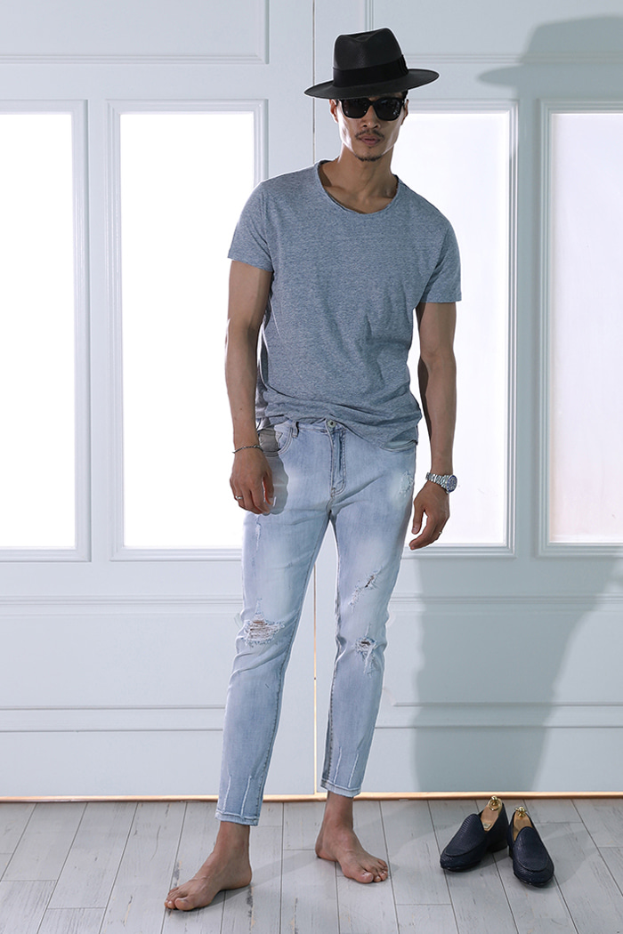 Destroyes damage ice jeans/ice blue-수입한정수량