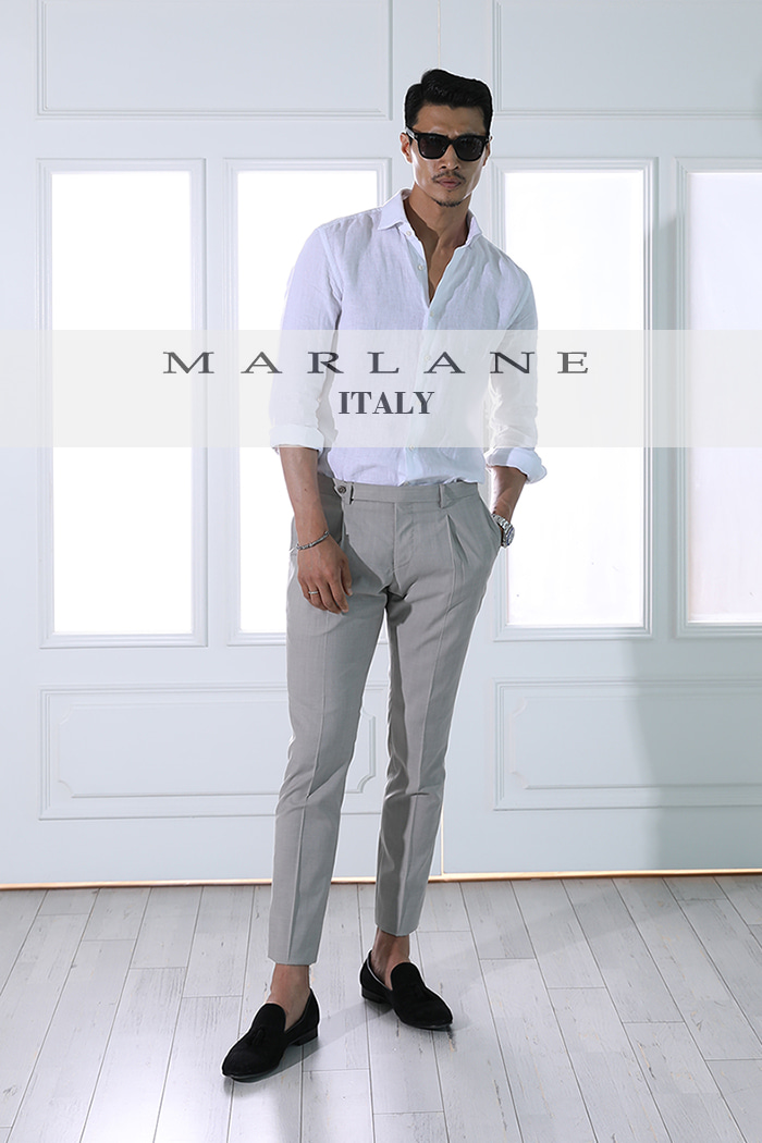 Take440 Marlane-italia slacks one tuck pants/beige-소량 한정판!!