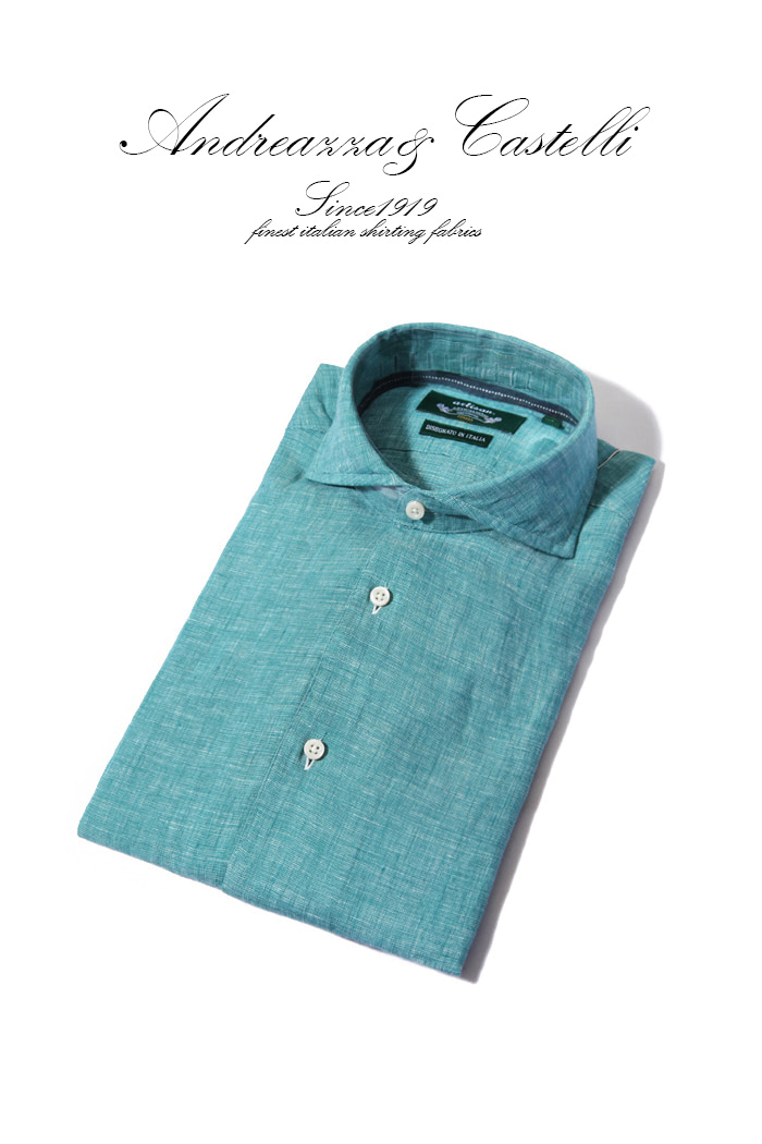 Take362 italia one-piece collar linen shirt/emerald
