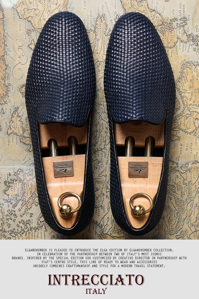 Take446 artisan intrecciato loafer/navy[italy calf-bologna.ver]