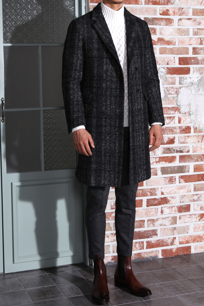 CLASSIC alpaca check double coat[special order-limited edition]