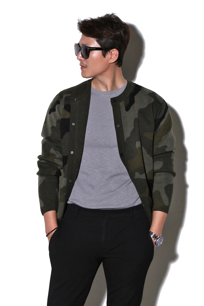 MAN camouflage round cardigan/2color