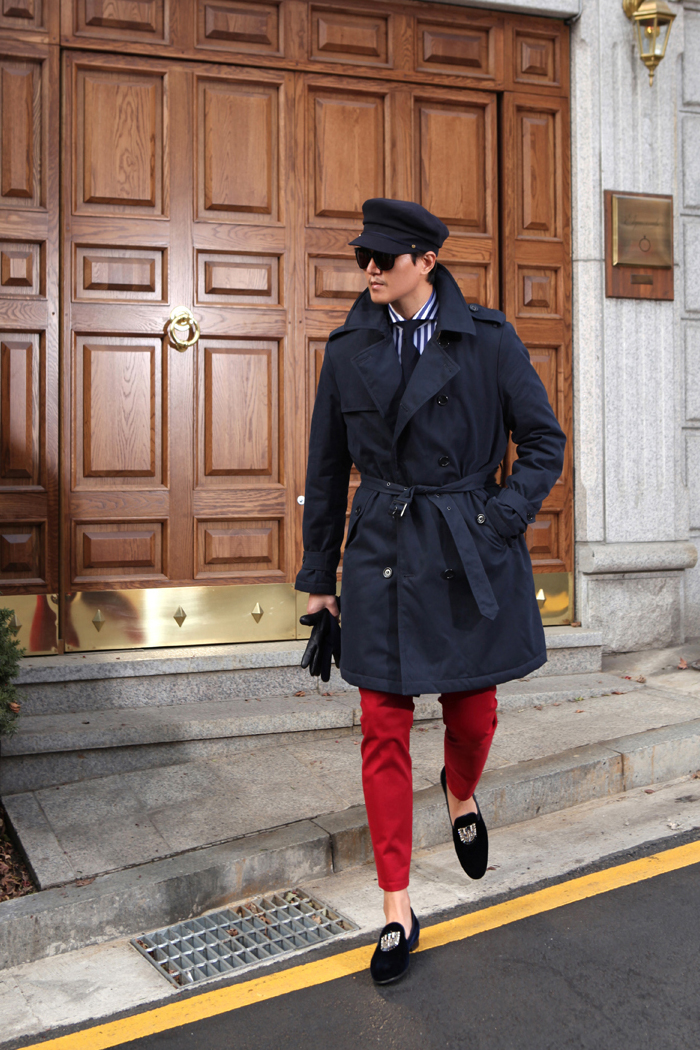 Take314 artisan trench padding coat/navy