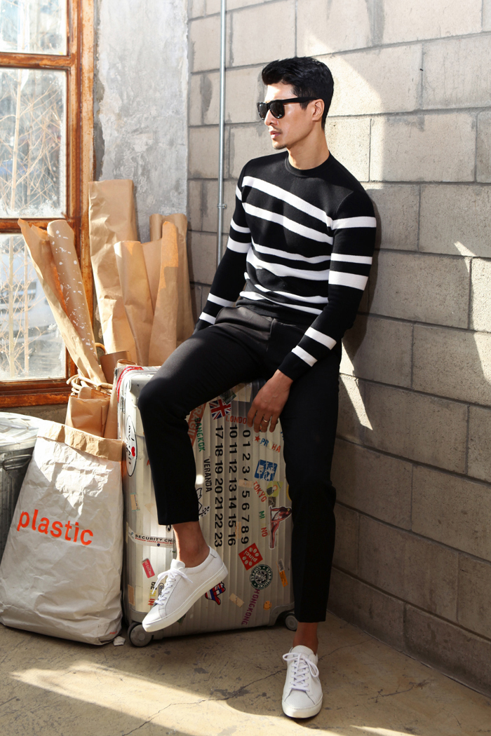 Diagonal stripe knit/black&white-스페셜오더