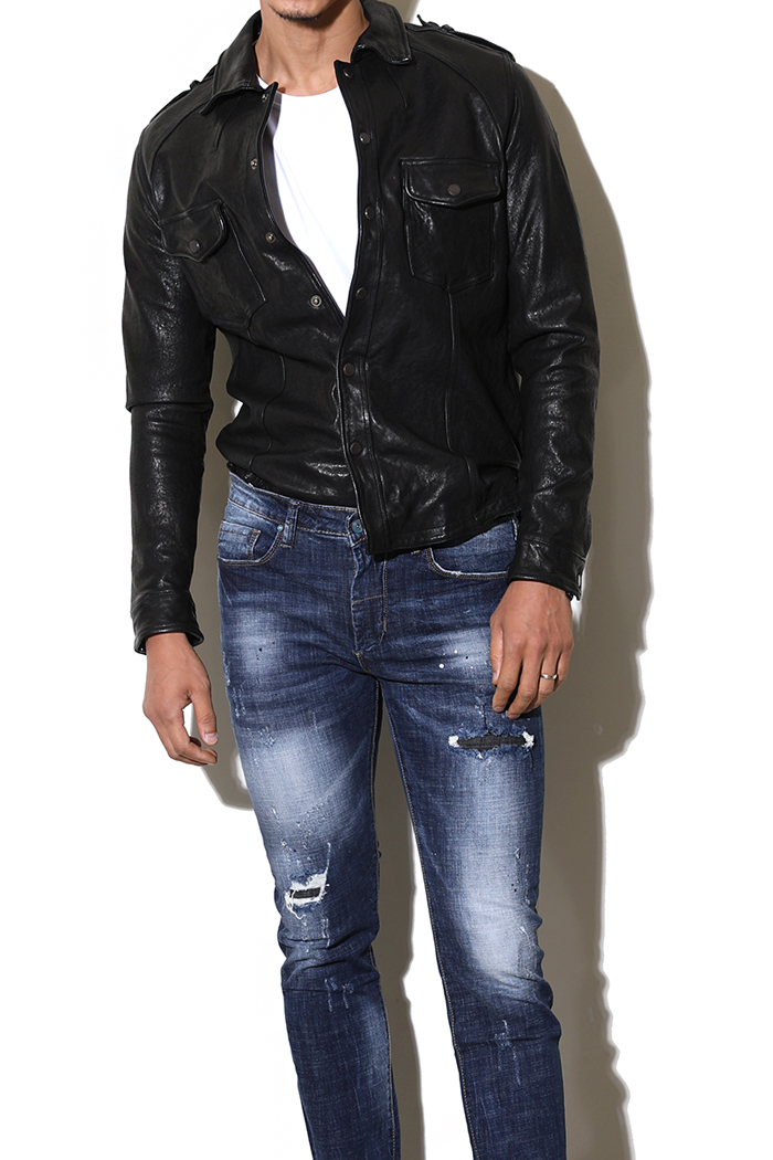 Mauclair leather shirt jacket-black