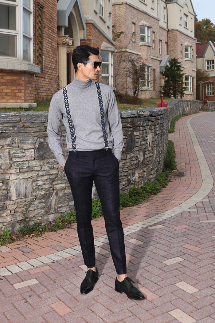 Take310 cashmere turtleneck knit/gray[black label series]