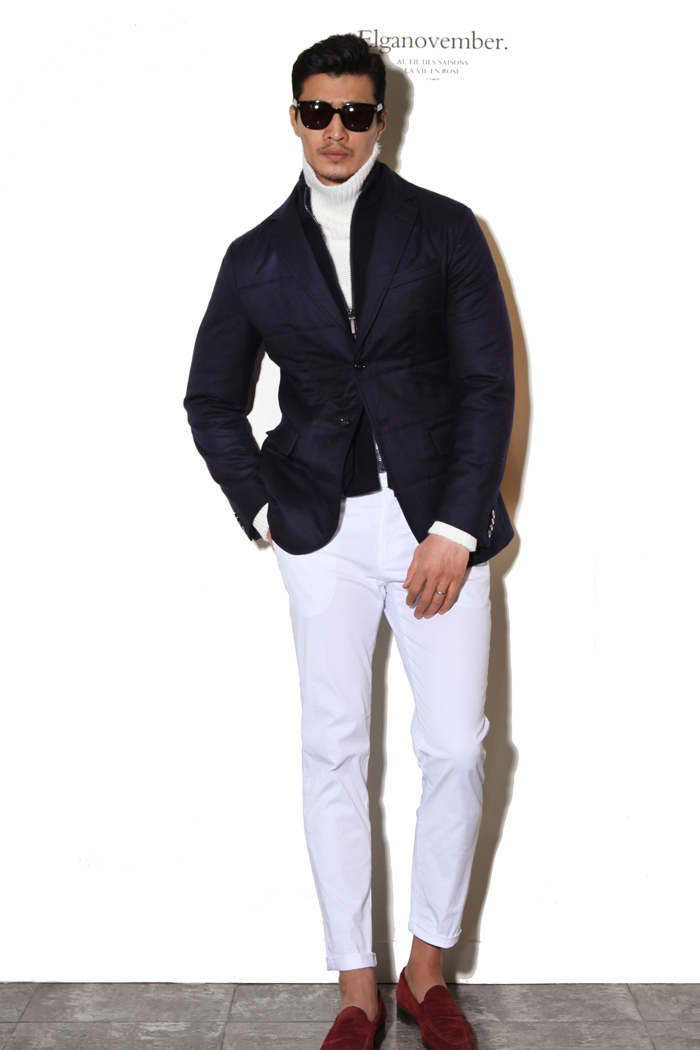 Take325 artisan Canonico1663 padding jacket/navy-50% SALE