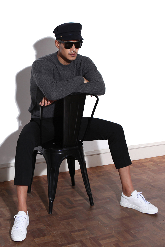 Take308 cashmere cable knit/gray[black label series]