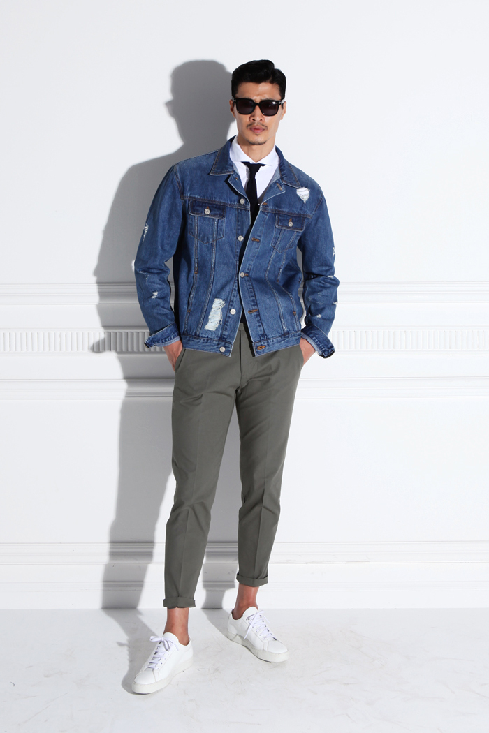 Valenti destroyed coating denim jacket/blue