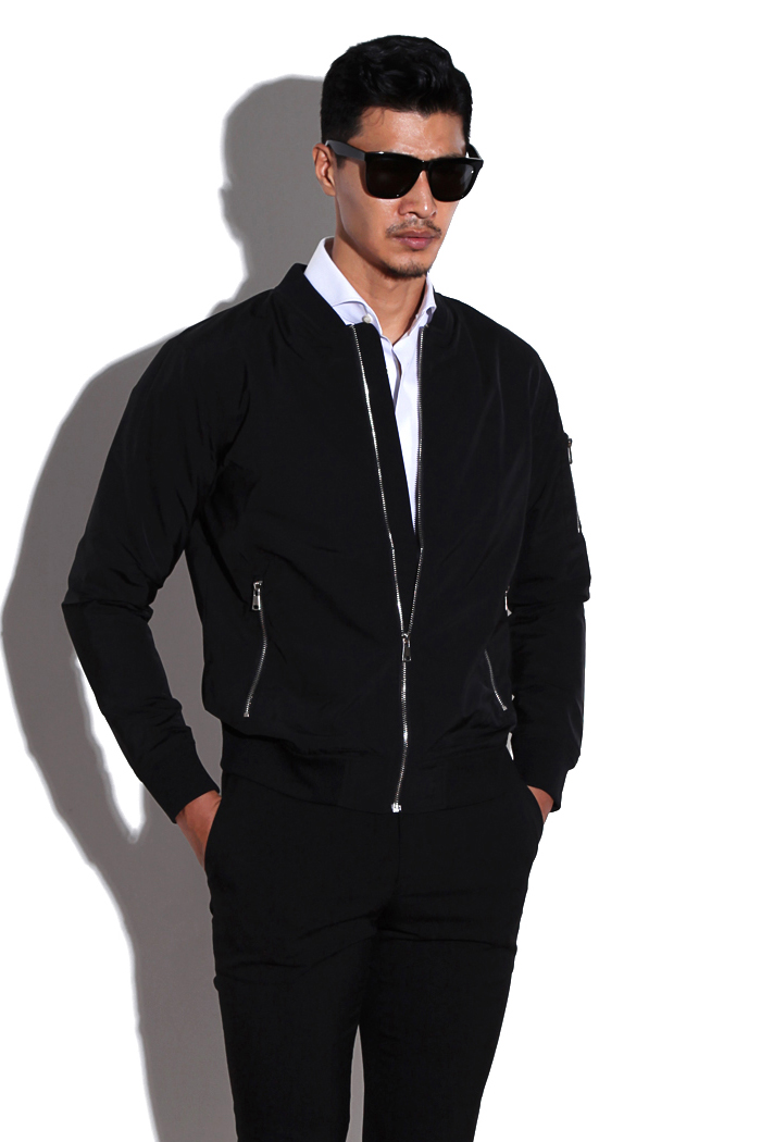 Pluage comfortable blouson/black[slim fit]