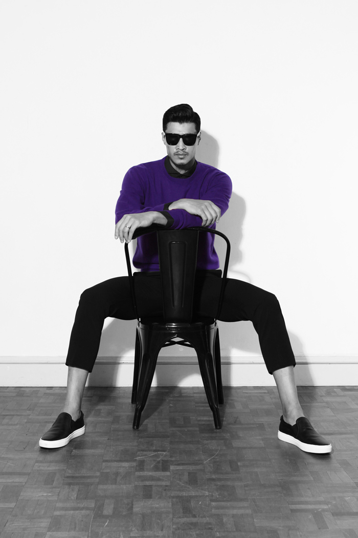 Take296 cashmere round knit/purple[black label series]-한정판