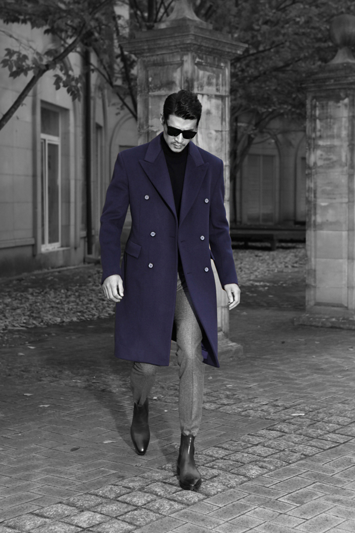 Take304 Ballt artisan cashmere coat/navy