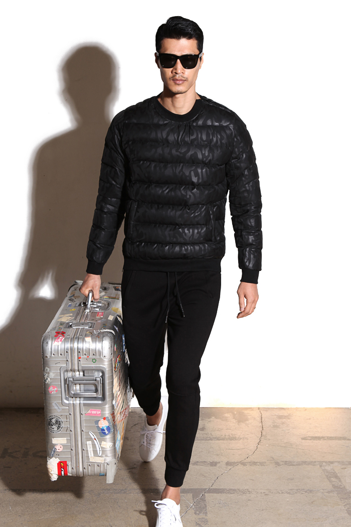 Camouflage padding man to man/black[wellon filling]