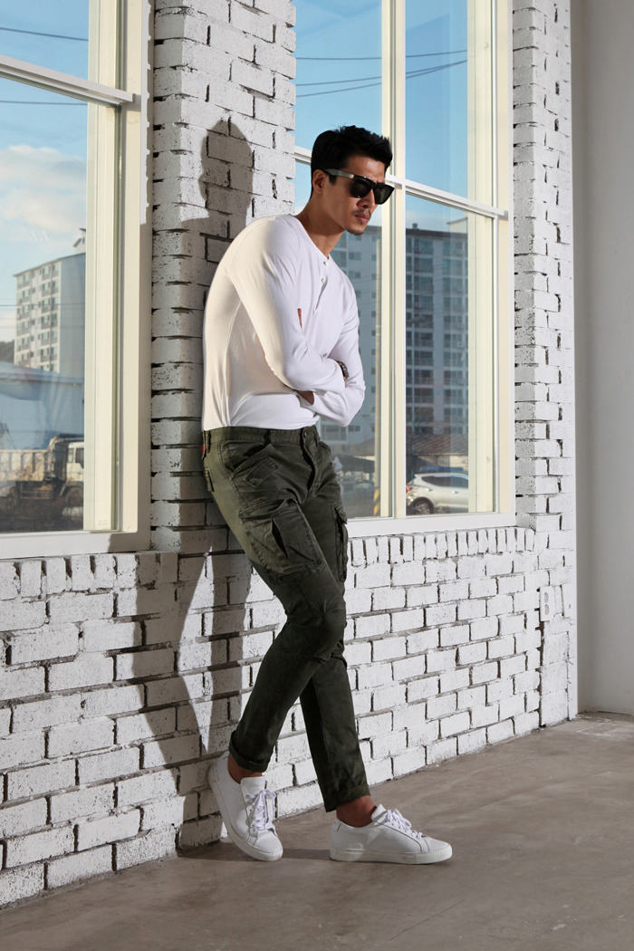 RG5825 washed slim cargo pants/2color-소량 수입한정판