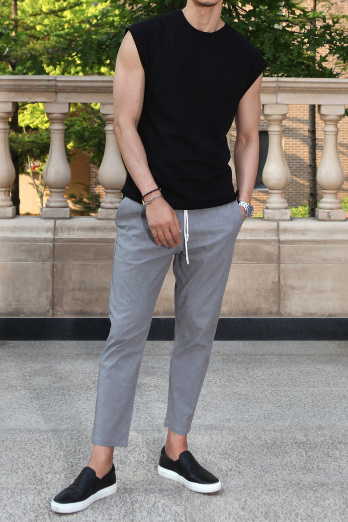 Zhivi banding slacks pants/gray-수입한정모델