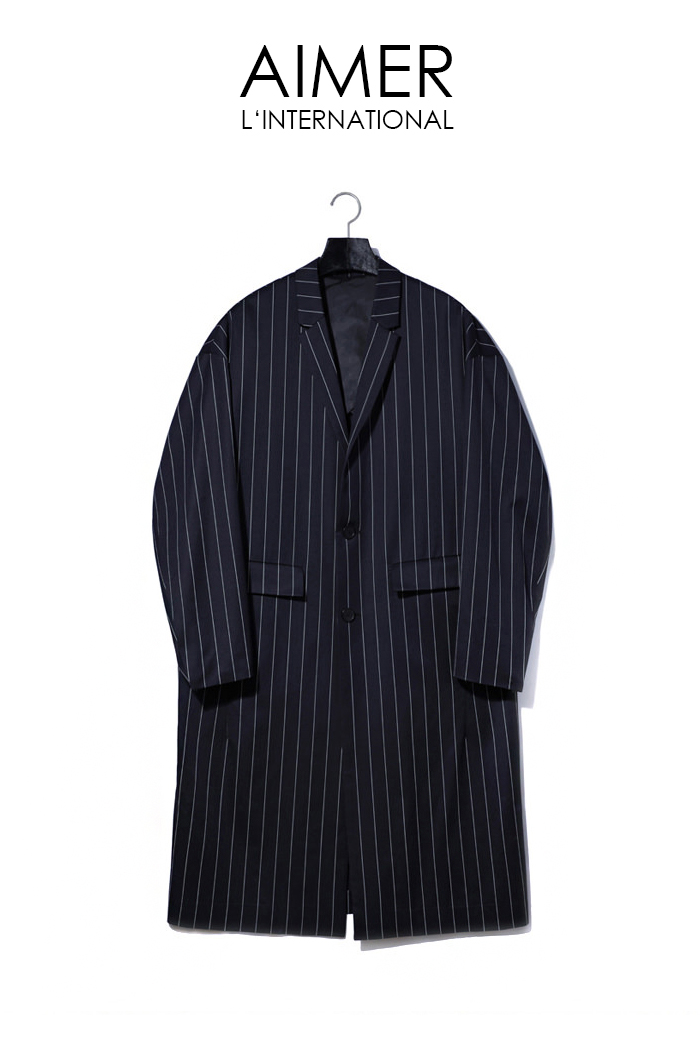 Pin stripe over fit coat/navy[Special order project]-최근 이슈제품!!