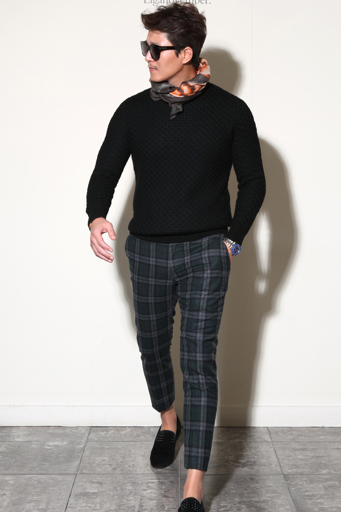 Take306 italy marlane tartan check pants/deep green
