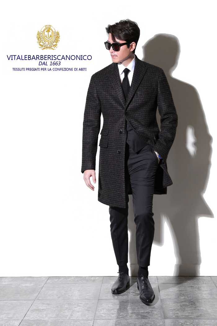 V.B.C Alpaca gingham check single Classic coat/dark brown[limited edition]-최근이슈제품!