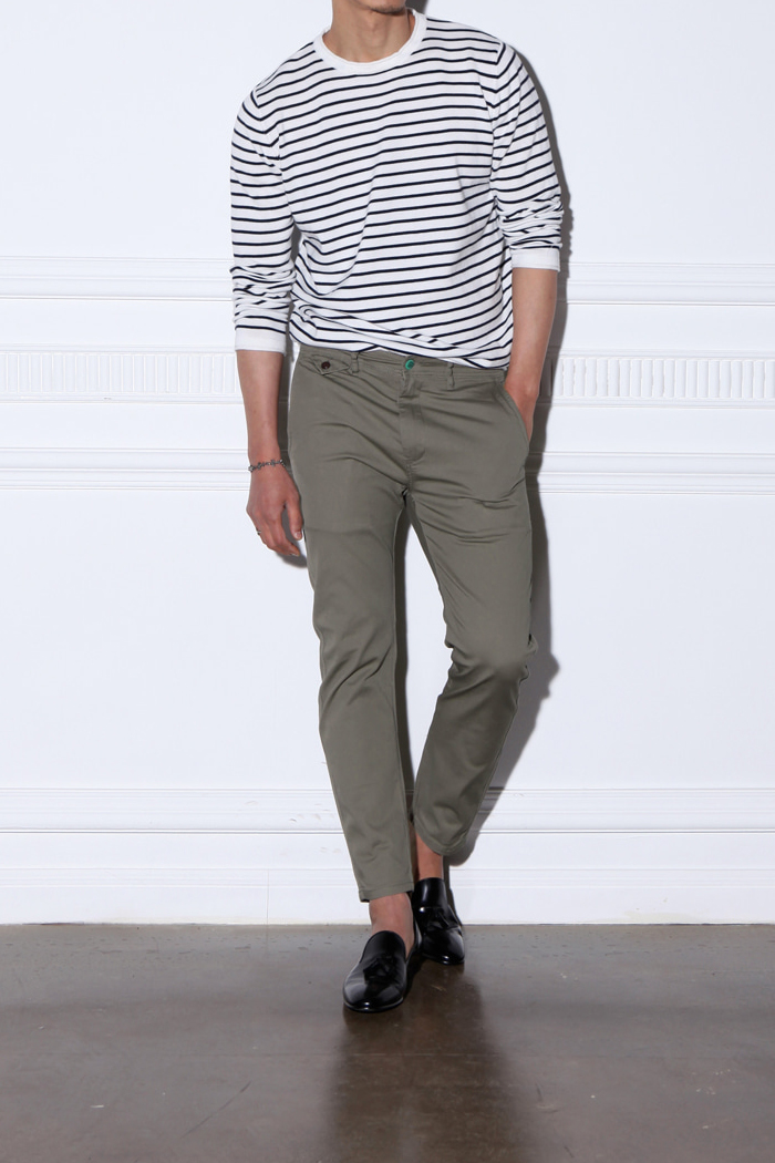 DAL belt loop chino pants/khaki-수입한정모델
