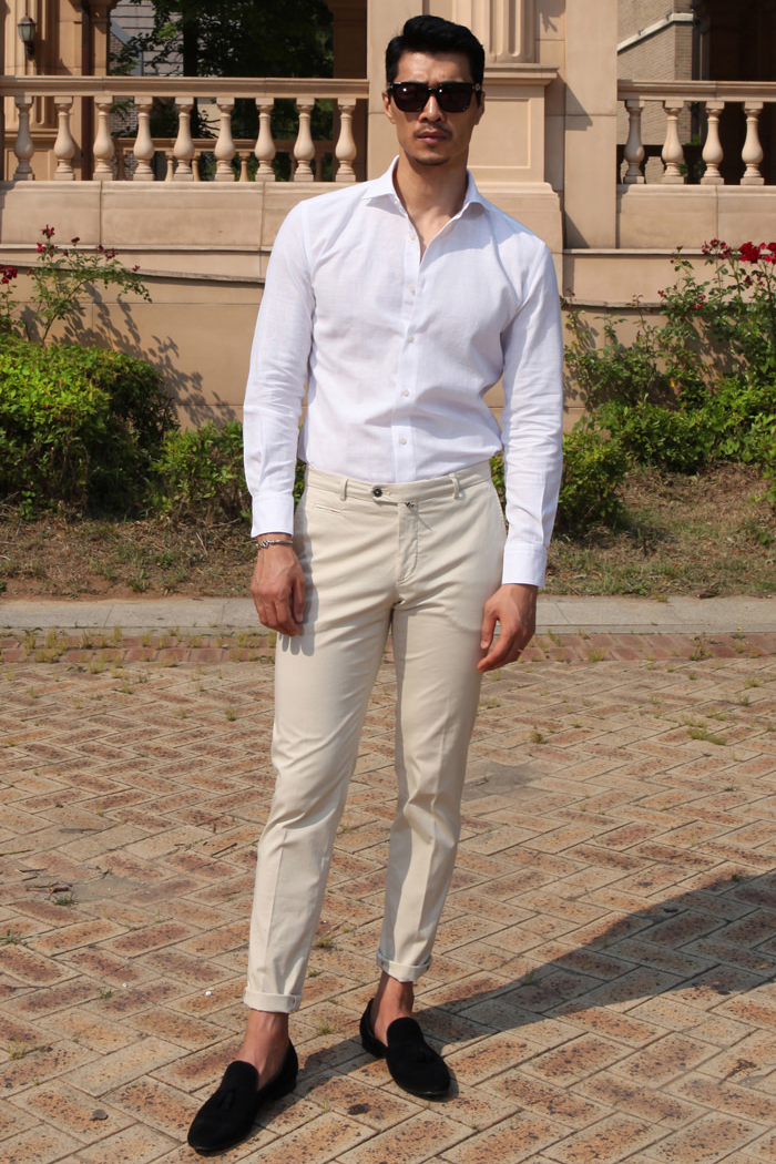 Take343 Larusmiani milano-italy garment dye pants/cream beige