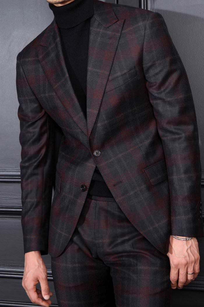 Take390 Italy Officina by Marlane tartan check suit/wine stripe