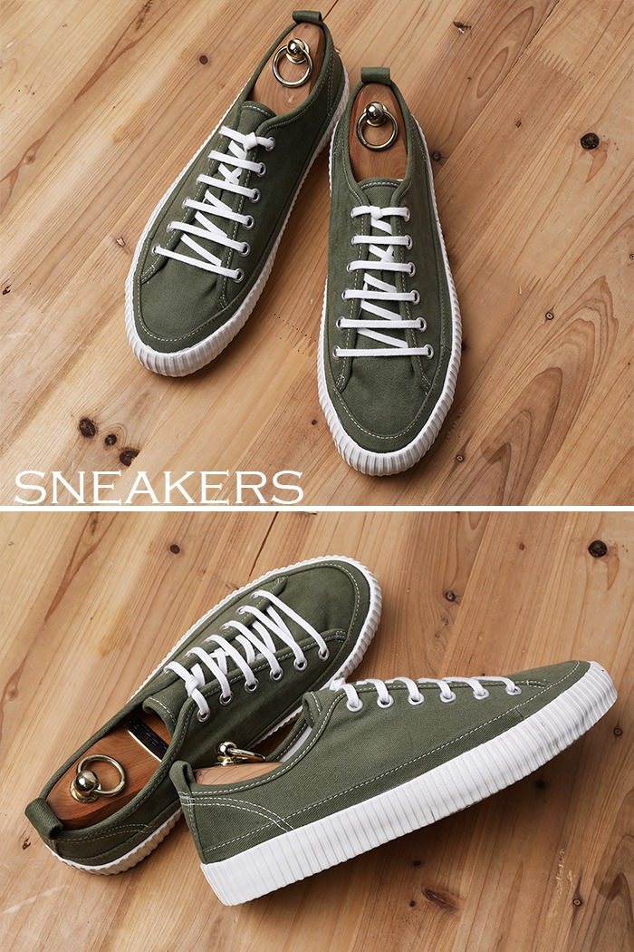 BASIC COLORIZE CANVAS SNEAKERS-KHAKI