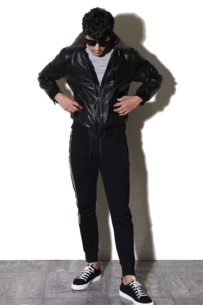 PULSE LEATHER BLOUSON-BLACK