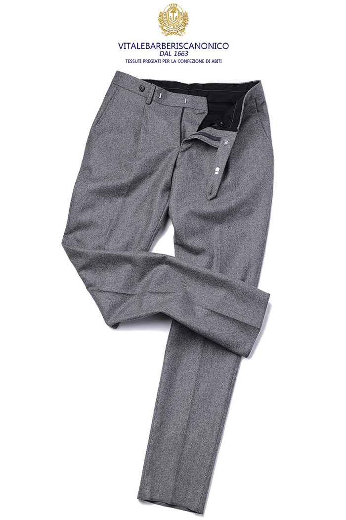 471 ITALY VITALE BARBERIS CANONICO 1663 FLANNEL PANTS-LIGHT GRAY