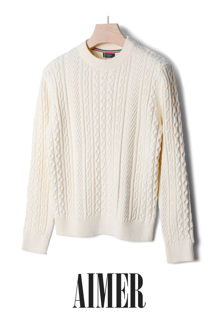 GOORENCH CABLE ROUND KNIT-2COLOR수입한정제품!