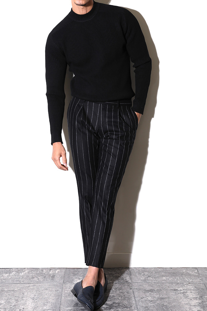 TAKE470 ITALY VITALE BARBERIS CANONICO 1663 STRIPE PANTS-BLACK이탈리아시리즈-2/3이상판매완료!