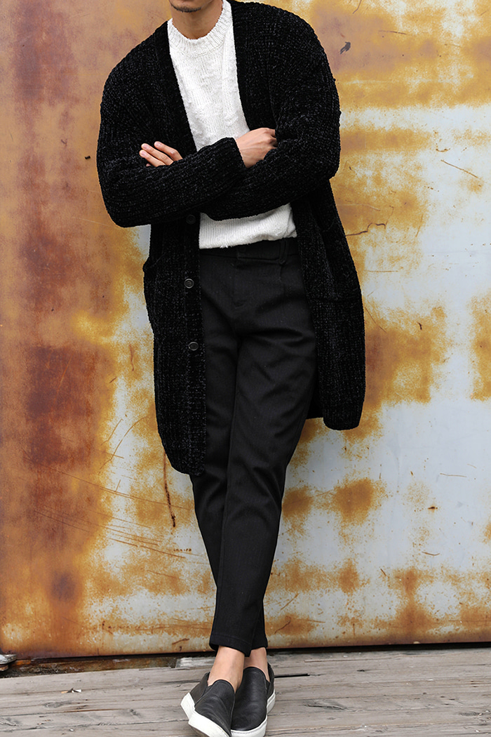 GRAMIGNA VELVET HEAVY LONG CARDIGAN-BLACK[Italy yarn]스페셜오더-최근판매 이슈제품!