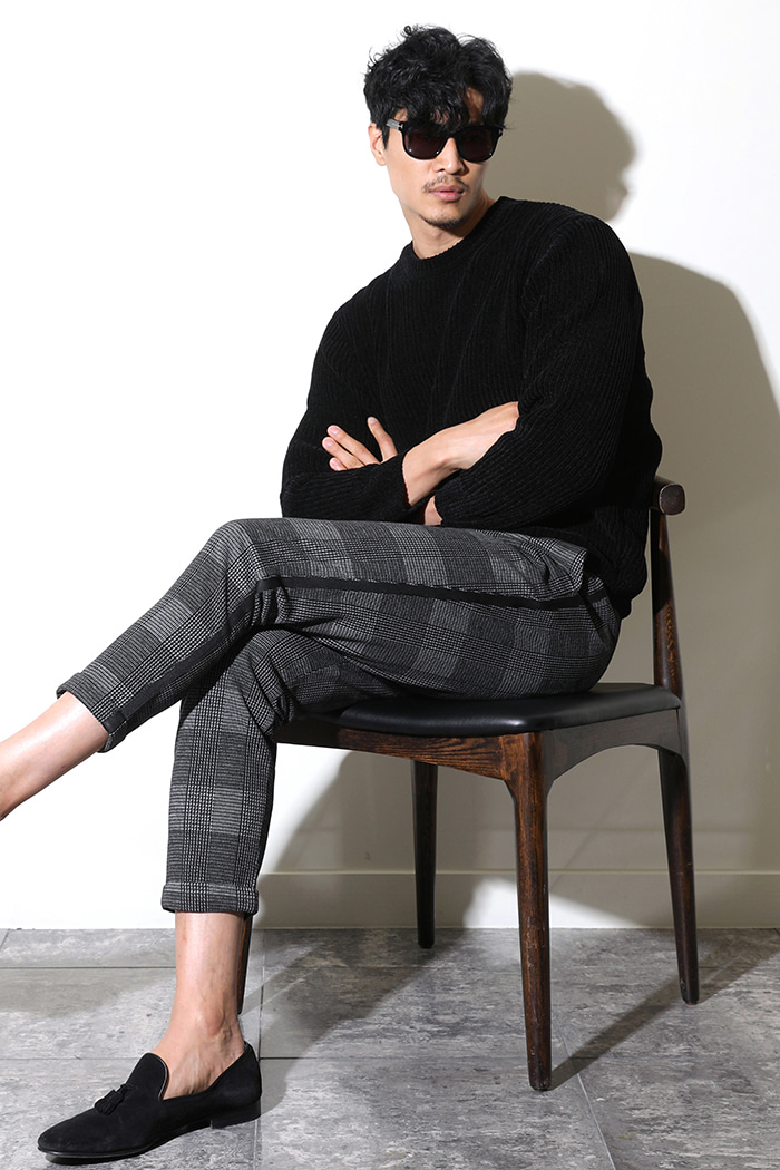 PUCCINI CHECK ROLL-UP SLACKS PANTS-BLACK수입한정제품